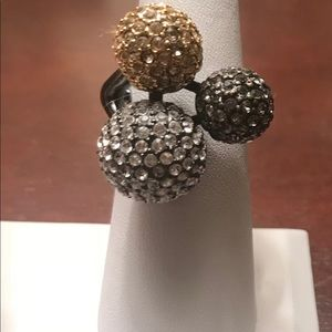 Gold and silver balls ring